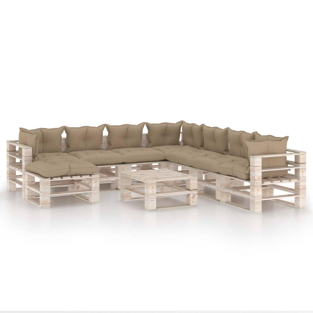 vidaXL Set mobilier grădină din paleți, 9 piese, cu perne, lemn de pin vidaxl.ro