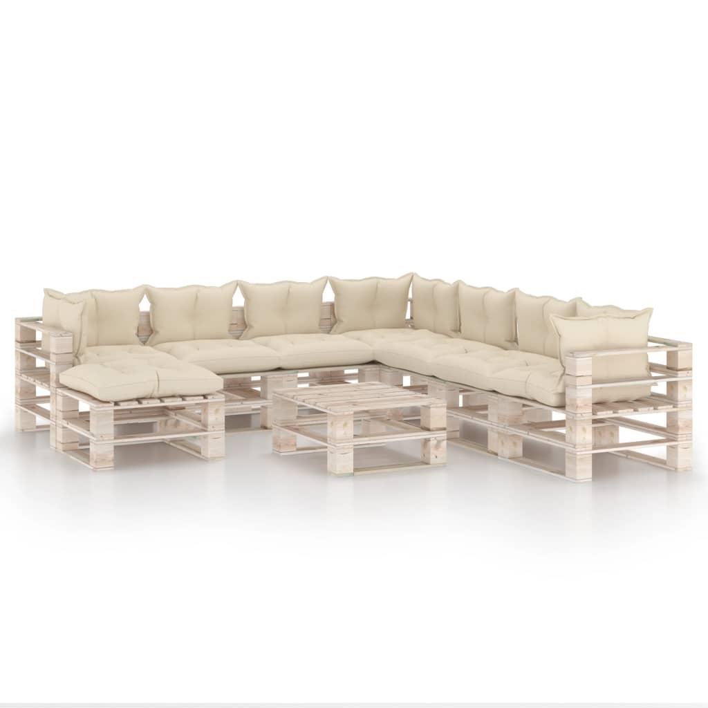 vidaXL Set mobilier grădină din paleți, 9 piese, cu perne, lemn de pin poza vidaxl.ro