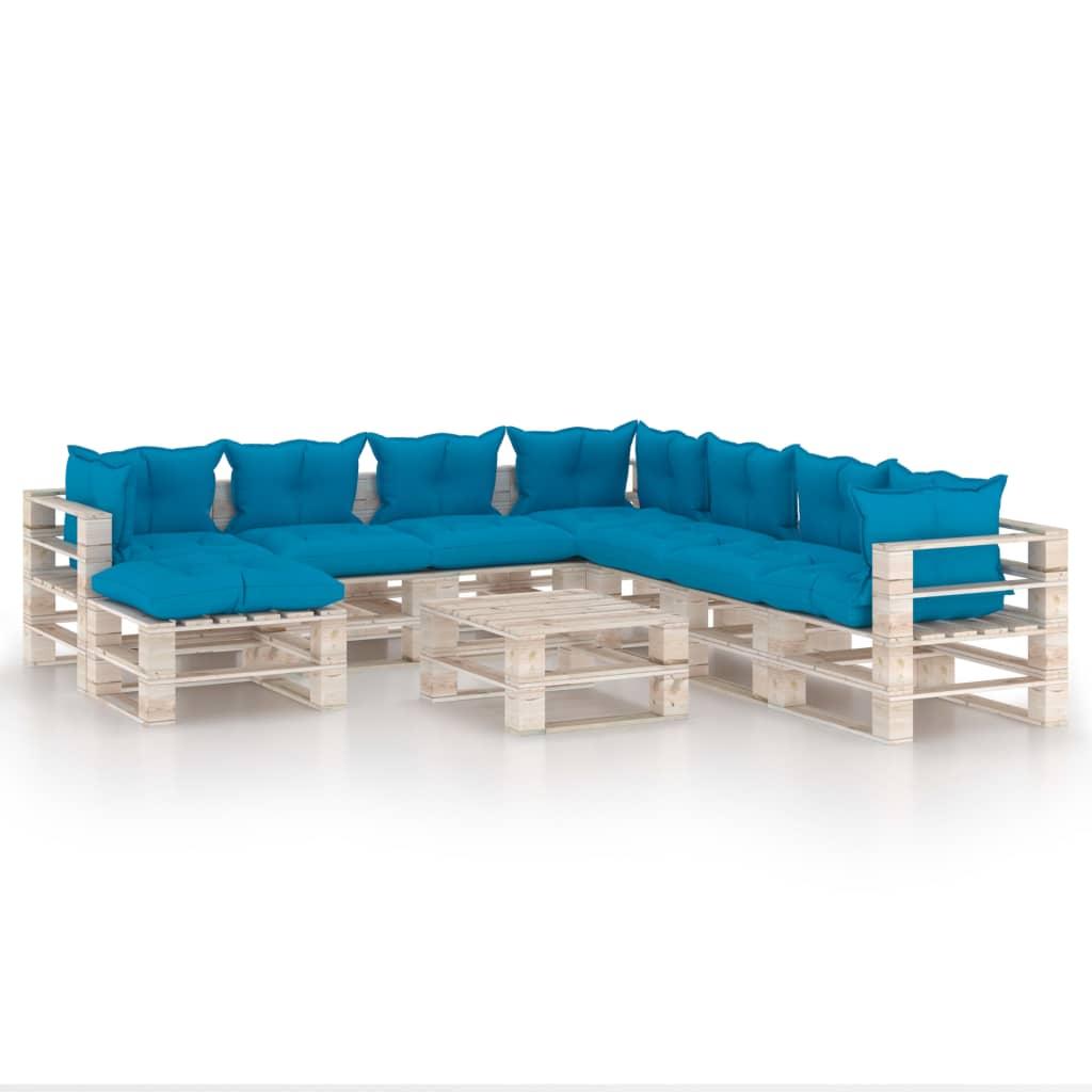 vidaXL Set mobilier grădină din paleți cu perne, 9 piese, lemn de pin poza 2021 vidaXL