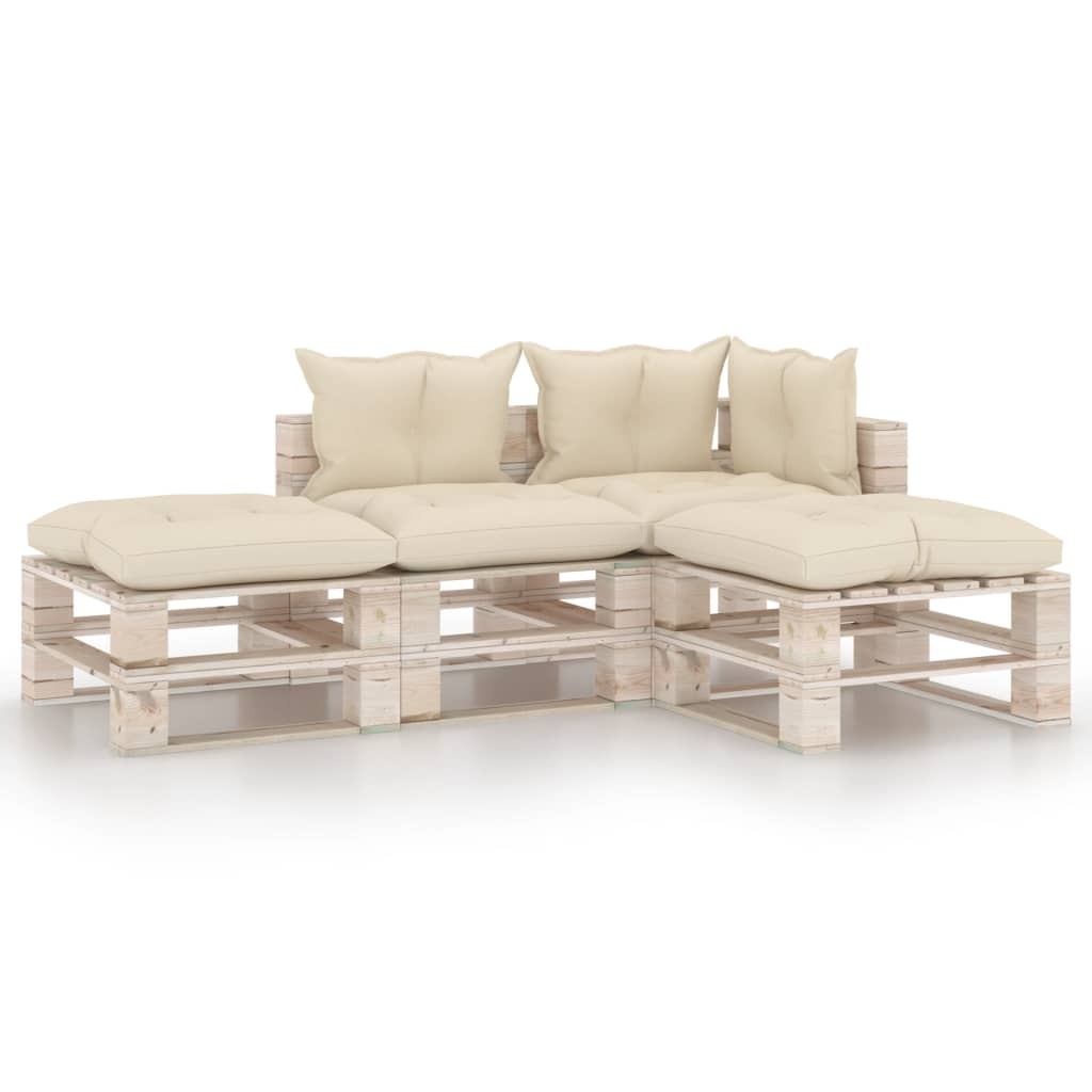 vidaXL Set mobilier grădină din paleți, 4 piese, cu perne, lemn de pin poza 2021 vidaXL