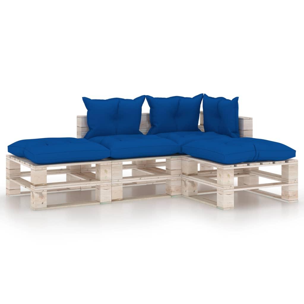 vidaXL Set mobilier grădină din paleți cu perne, 4 piese, lemn de pin imagine vidaxl.ro
