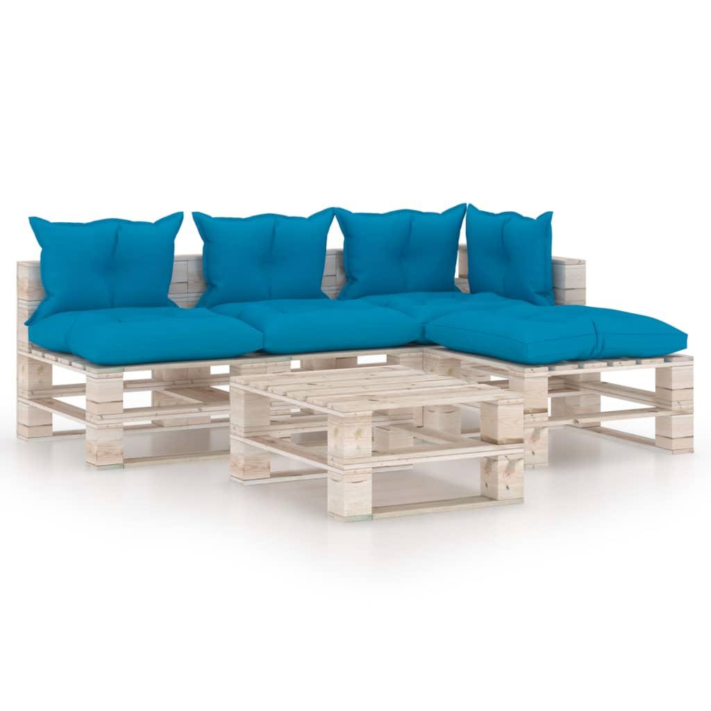 vidaXL Set mobilier grădină din paleți cu perne, 5 piese, lemn de pin imagine vidaxl.ro