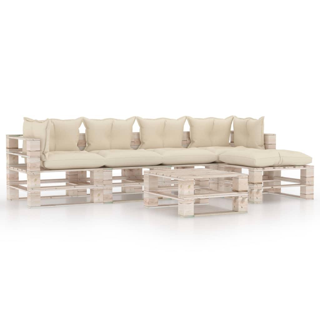 vidaXL Set mobilier grădină din paleți cu perne, 6 piese, lemn de pin vidaxl.ro