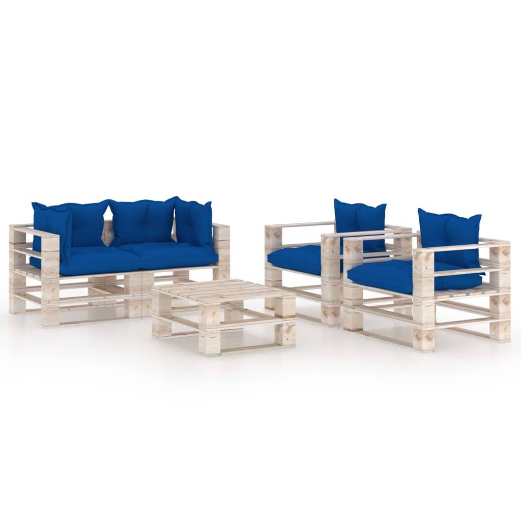vidaXL Set mobilier grădină din paleți cu perne, 5 piese, lemn de pin poza vidaxl.ro
