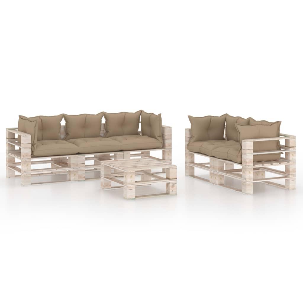 vidaXL Set mobilier de grădină din paleți cu perne, 6 piese, lemn pin poza 2021 vidaXL