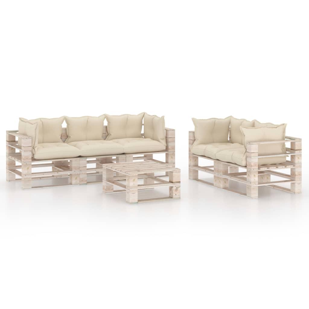 vidaXL Set mobilier de grădină din paleți cu perne, 6 piese, lemn pin imagine vidaxl.ro