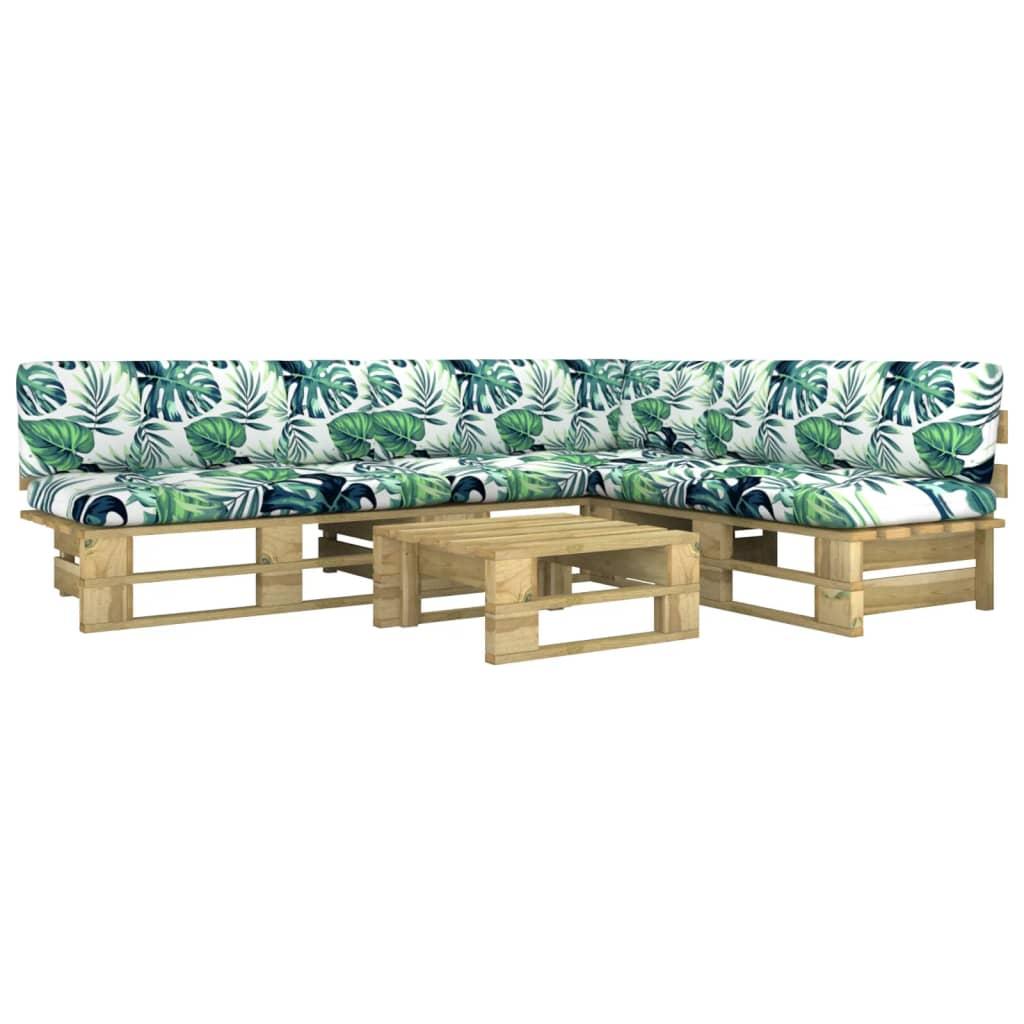 4-tlg. Paletten-Lounge-Set mit Kissen Grün Kiefer Imprägniert