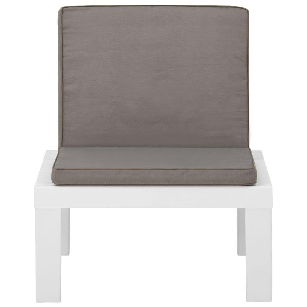 vidaXL Loungestoel met kussen kunststof wit