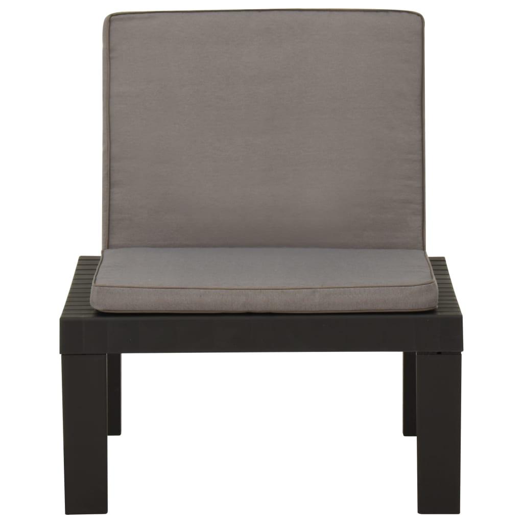 vidaXL Loungestoel met kussen kunststof grijs