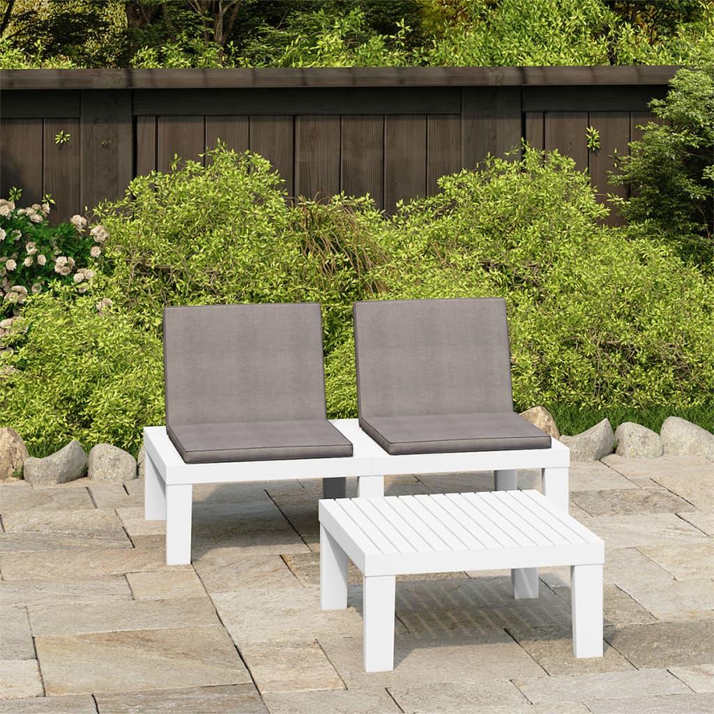 2dílná zahradní sedací souprava s poduškami plast bílá