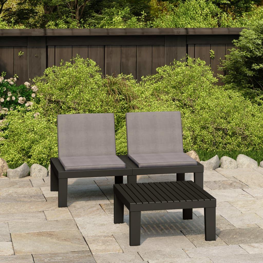 2dílná zahradní sedací souprava s poduškami plast šedá