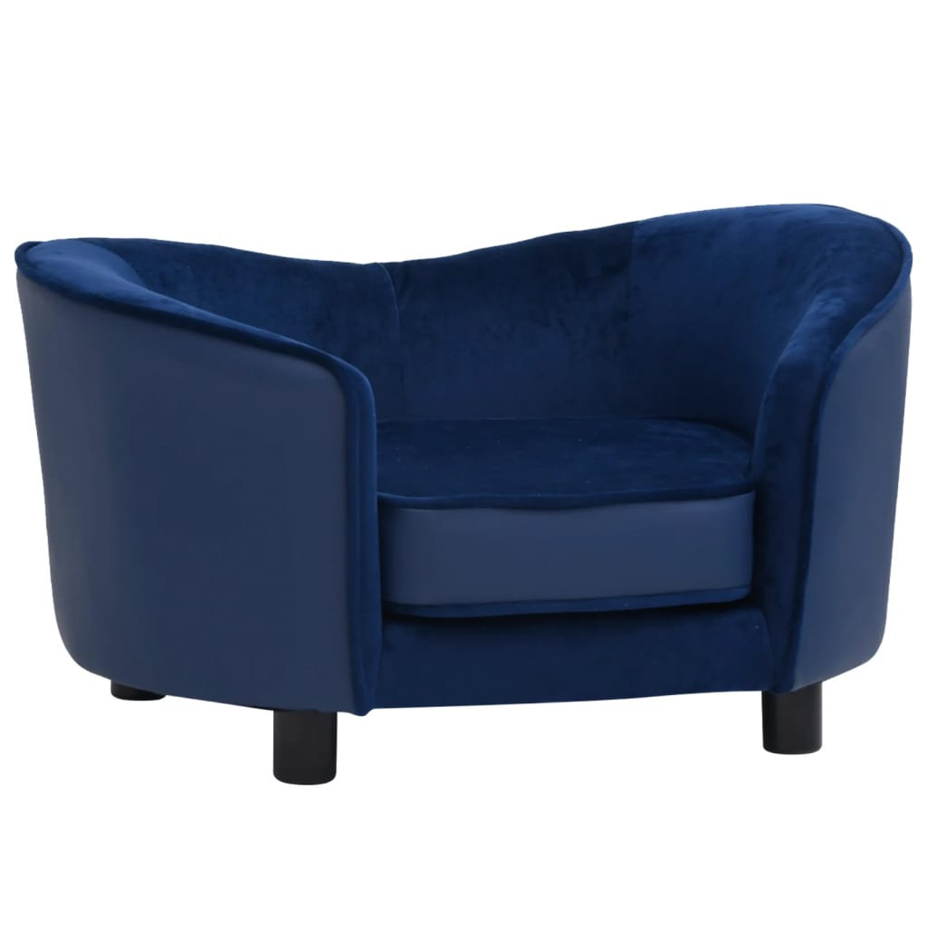 Hondenbank 69x49x40 cm pluche en kunstleer blauw