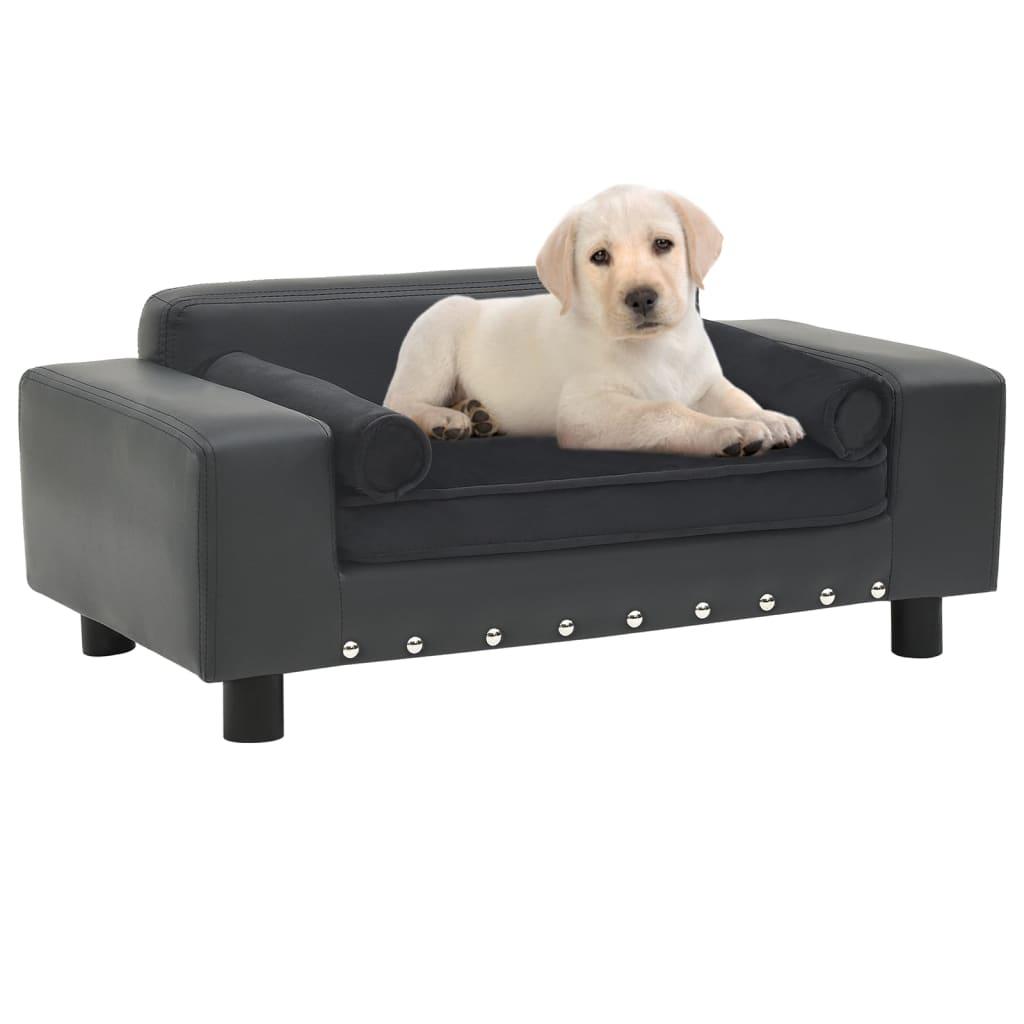 Hondenbank 81x43x31 cm pluche en kunstleer donkergrijs