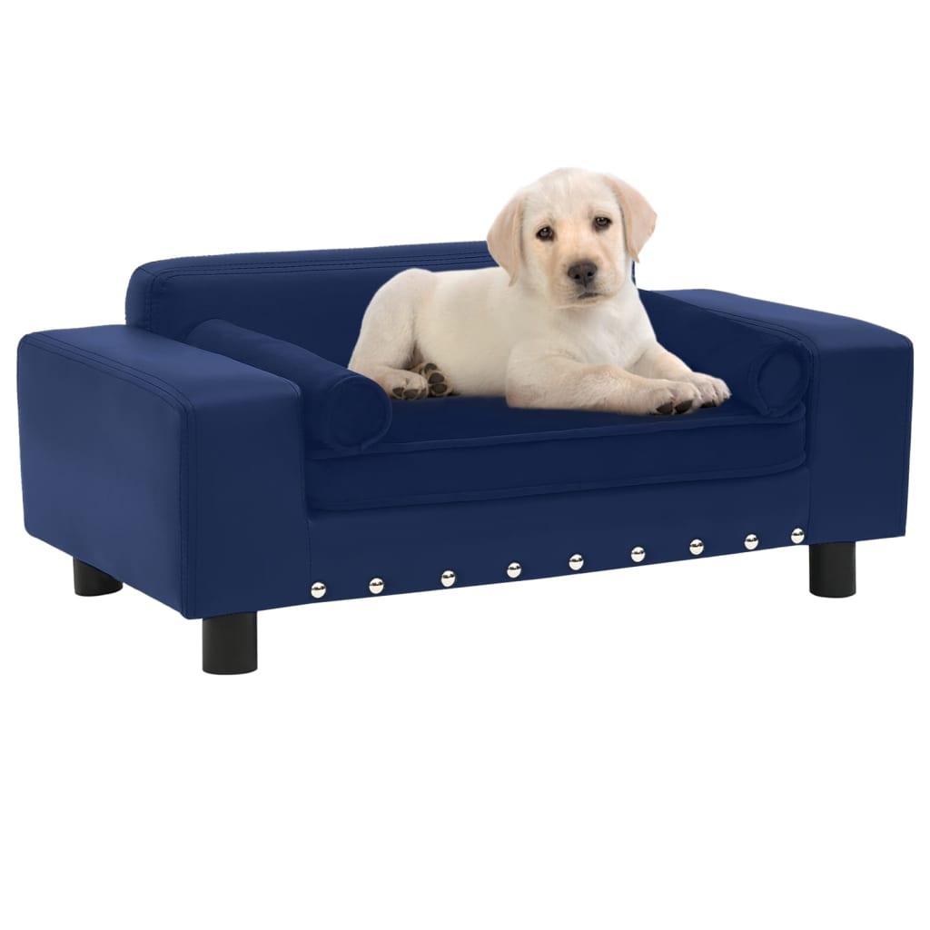 Hondenbank 81x43x31 cm pluche en kunstleer blauw