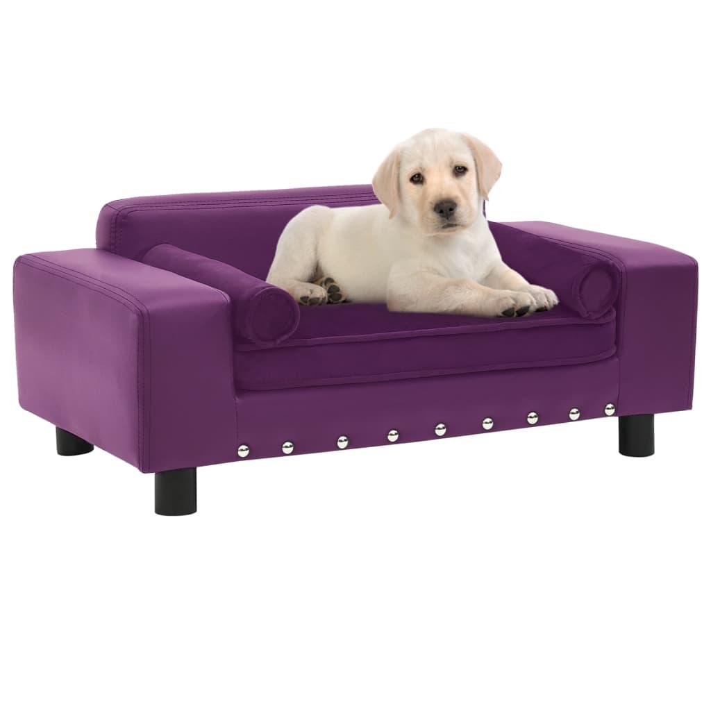 Hondenbank 81x43x31 cm pluche en kunstleer bordeauxrood