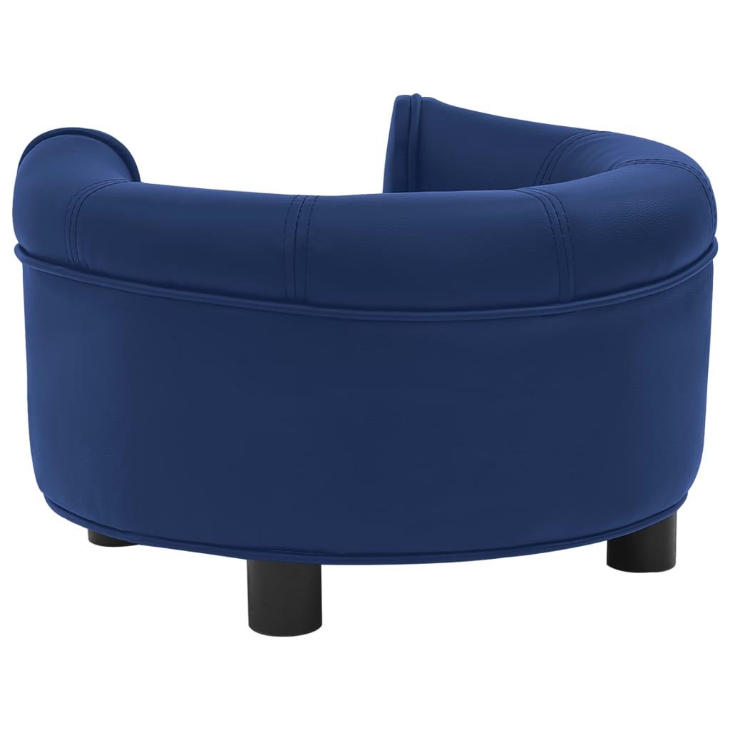 Hondenbank 48x48x32 cm pluche en kunstleer blauw