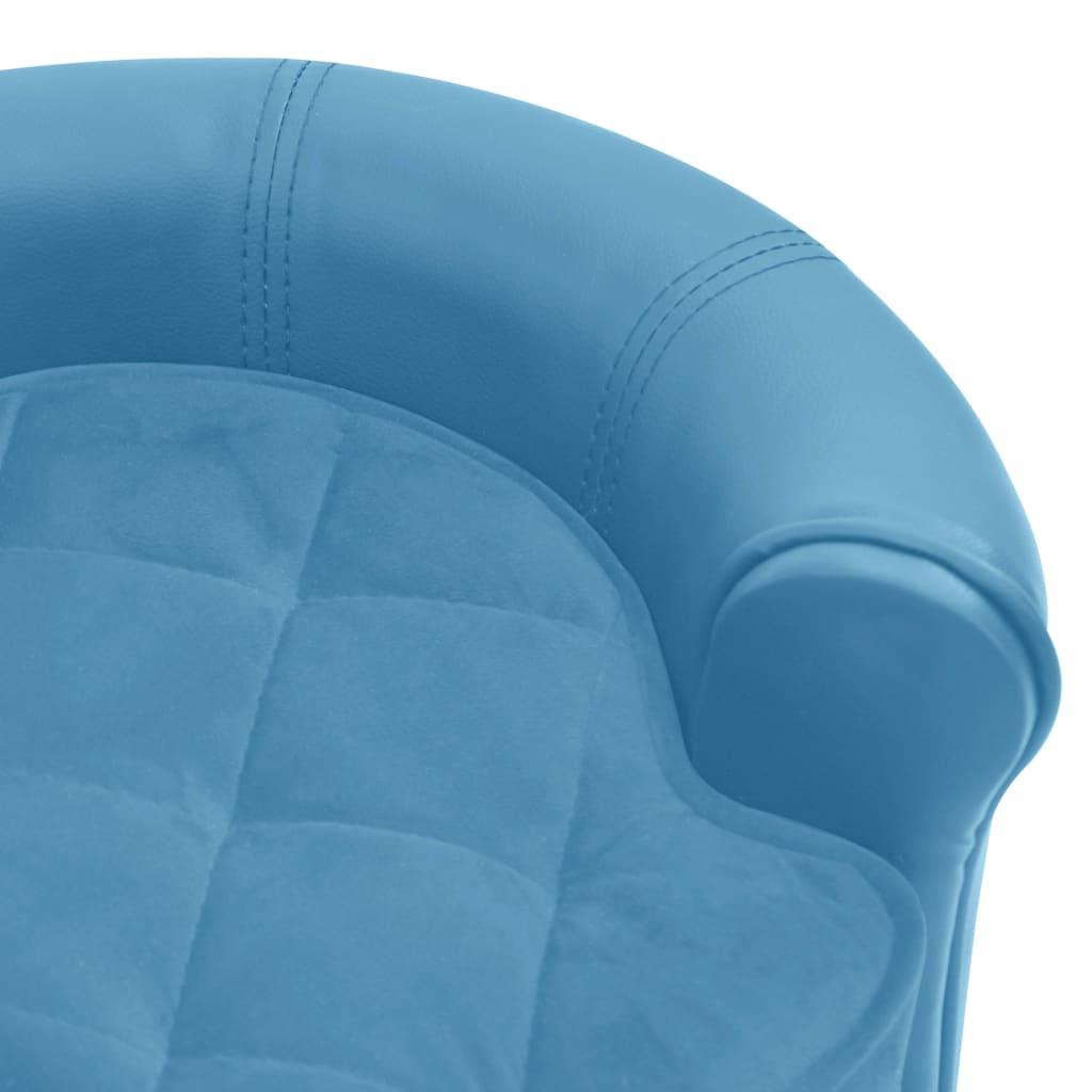 Hondenbank 48x48x32 cm pluche en kunstleer turquoise