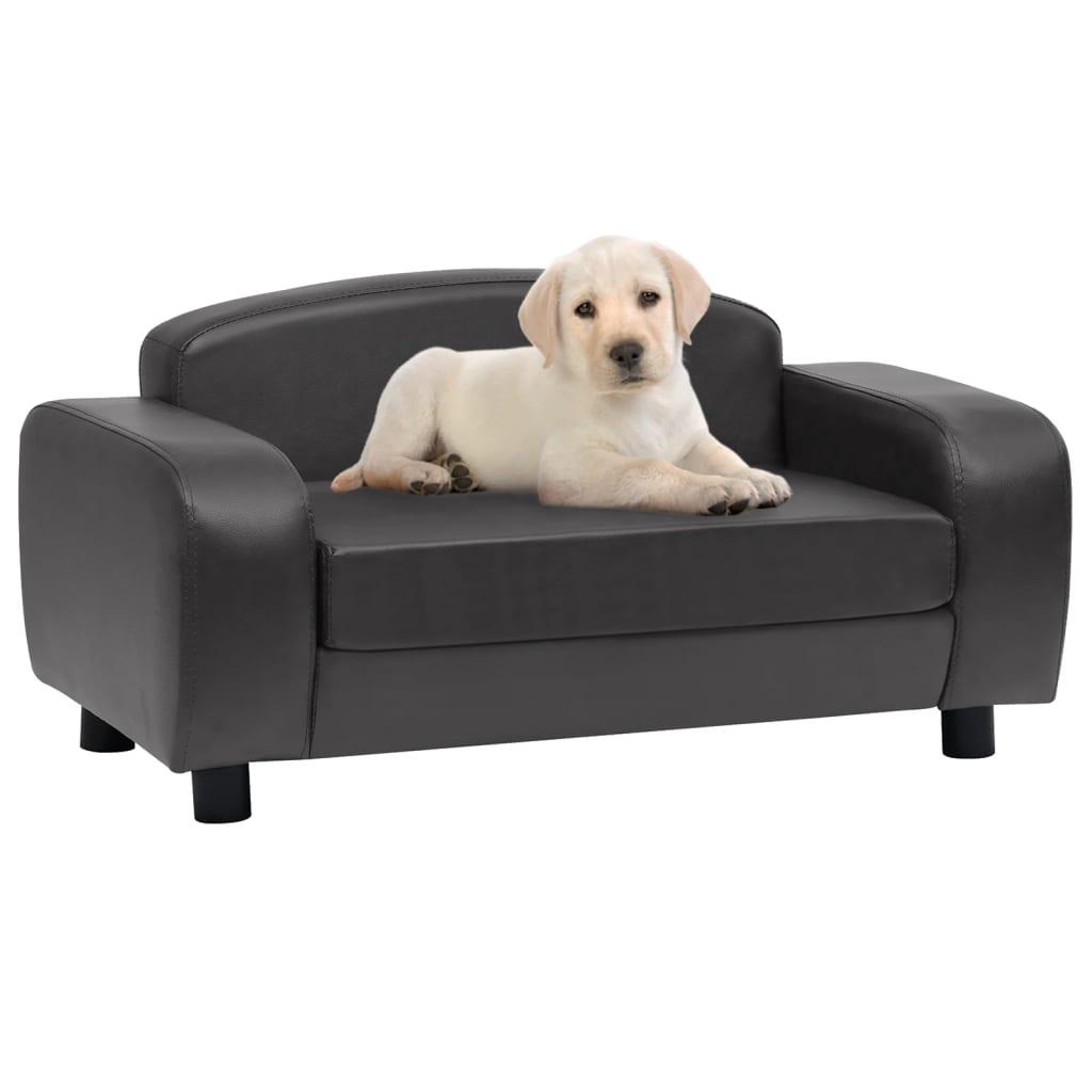 Hondenbank 80x50x40 cm kunstleer donkergrijs