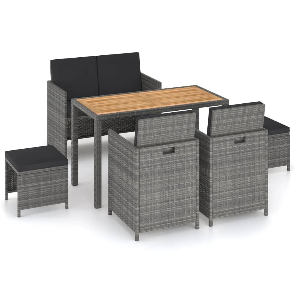 vidaXL udendørs spisebordssæt 6 dele polyrattan og akacietræ grå