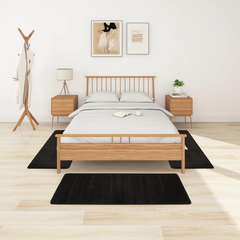 Koberce k posteli s vysokým vlasem 3 ks černé