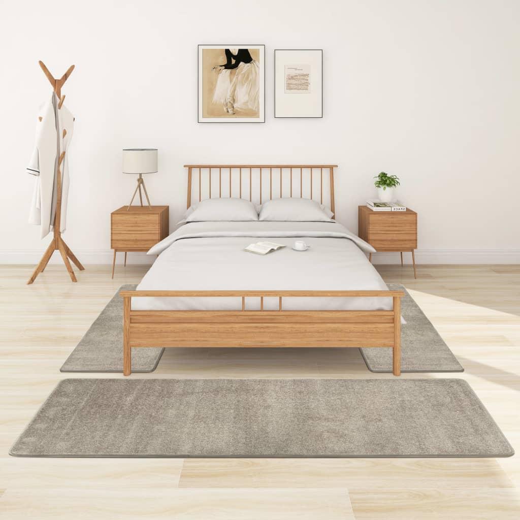 Koberce k posteli s vysokým vlasem 3 ks šedé