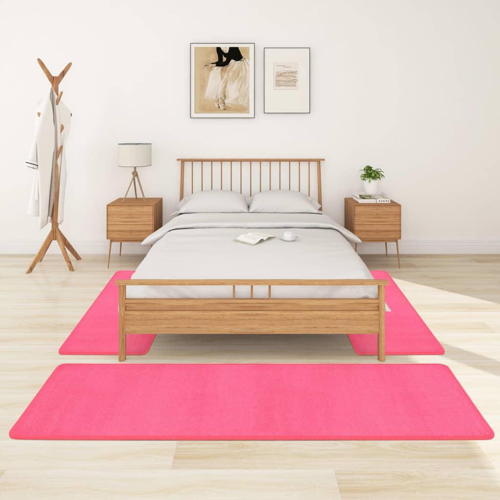 Koberce k posteli s vysokým vlasem 3 ks růžové