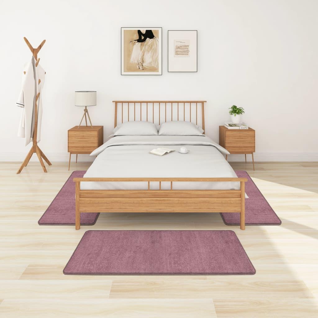 Koberce k posteli s vysokým vlasem 3 ks fialové