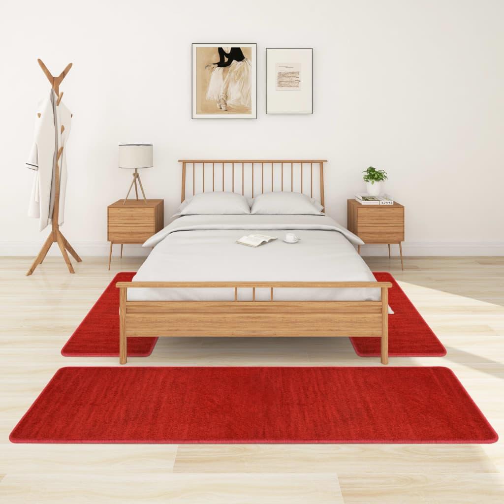 Koberce k posteli s vysokým vlasem 3 ks červené