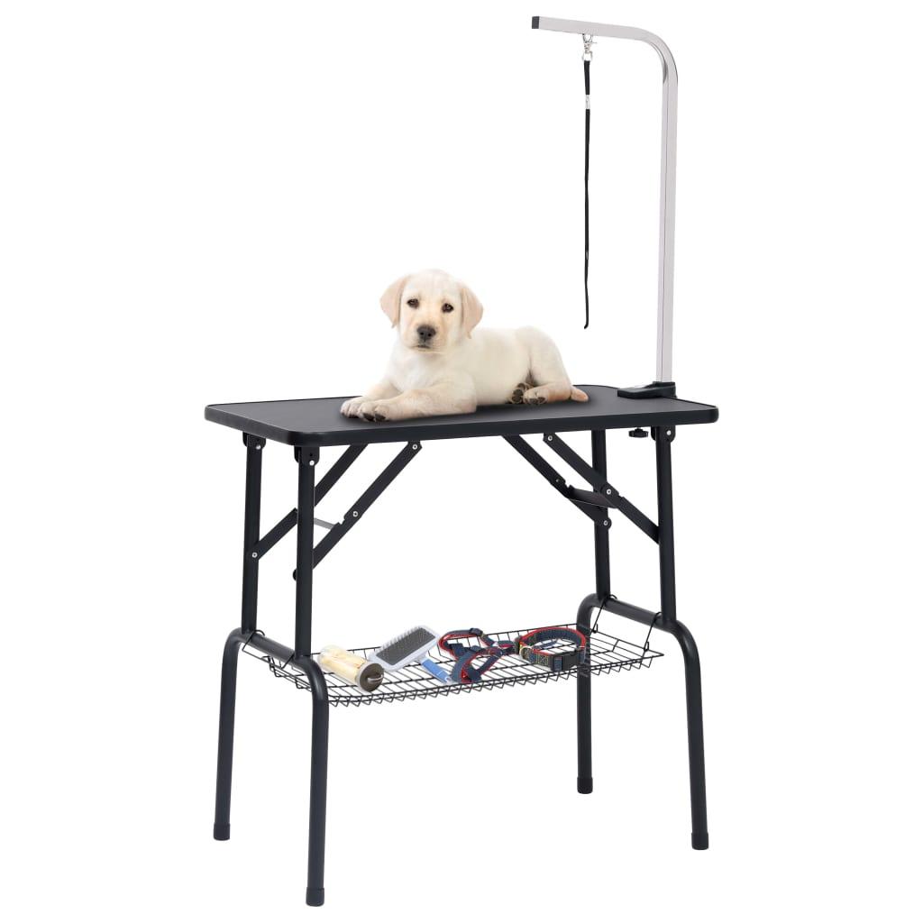 Nastavitelný stůl pro péči o psy s 1 smyčkou a košem