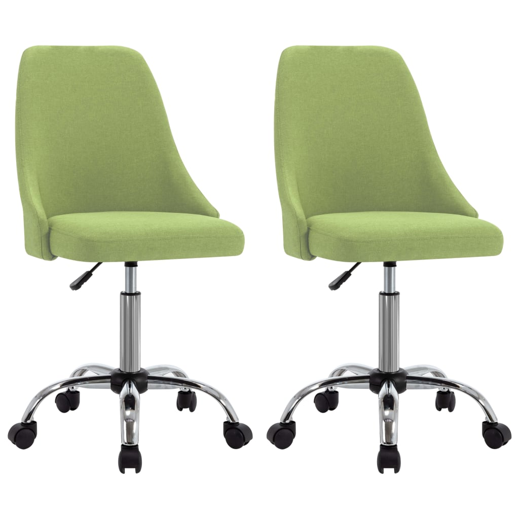 vidaXL kontorstole på hjul 2 stk. stof grøn