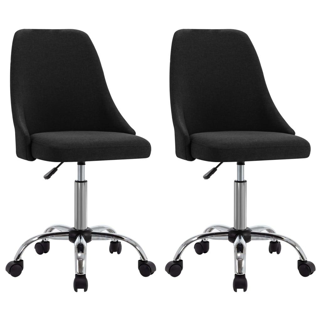 vidaXL kontorstole på hjul 2 stk. stof sort