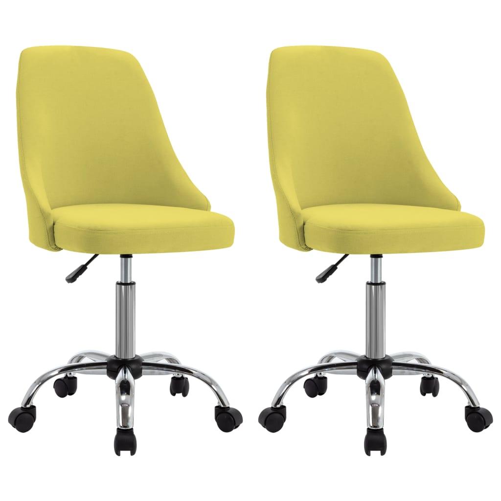 vidaXL kontorstole på hjul 2 stk. stof gul