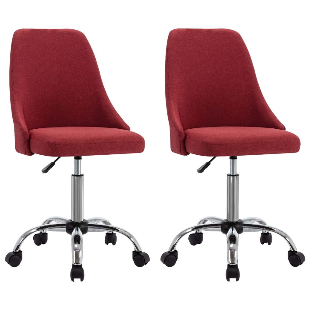 vidaXL kontorstole på hjul 2 stk. stof vinrød