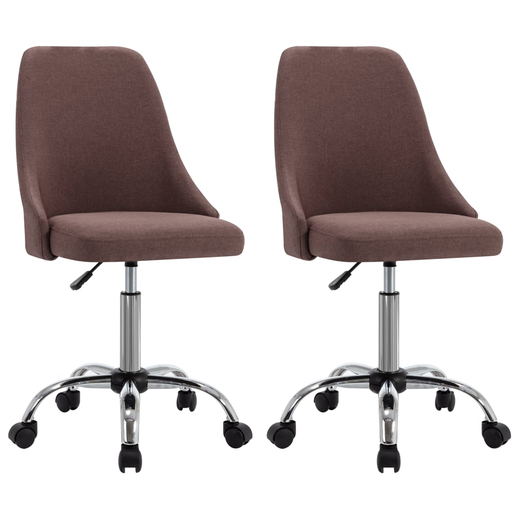 vidaXL kontorstole på hjul 2 stk. stof gråbrun