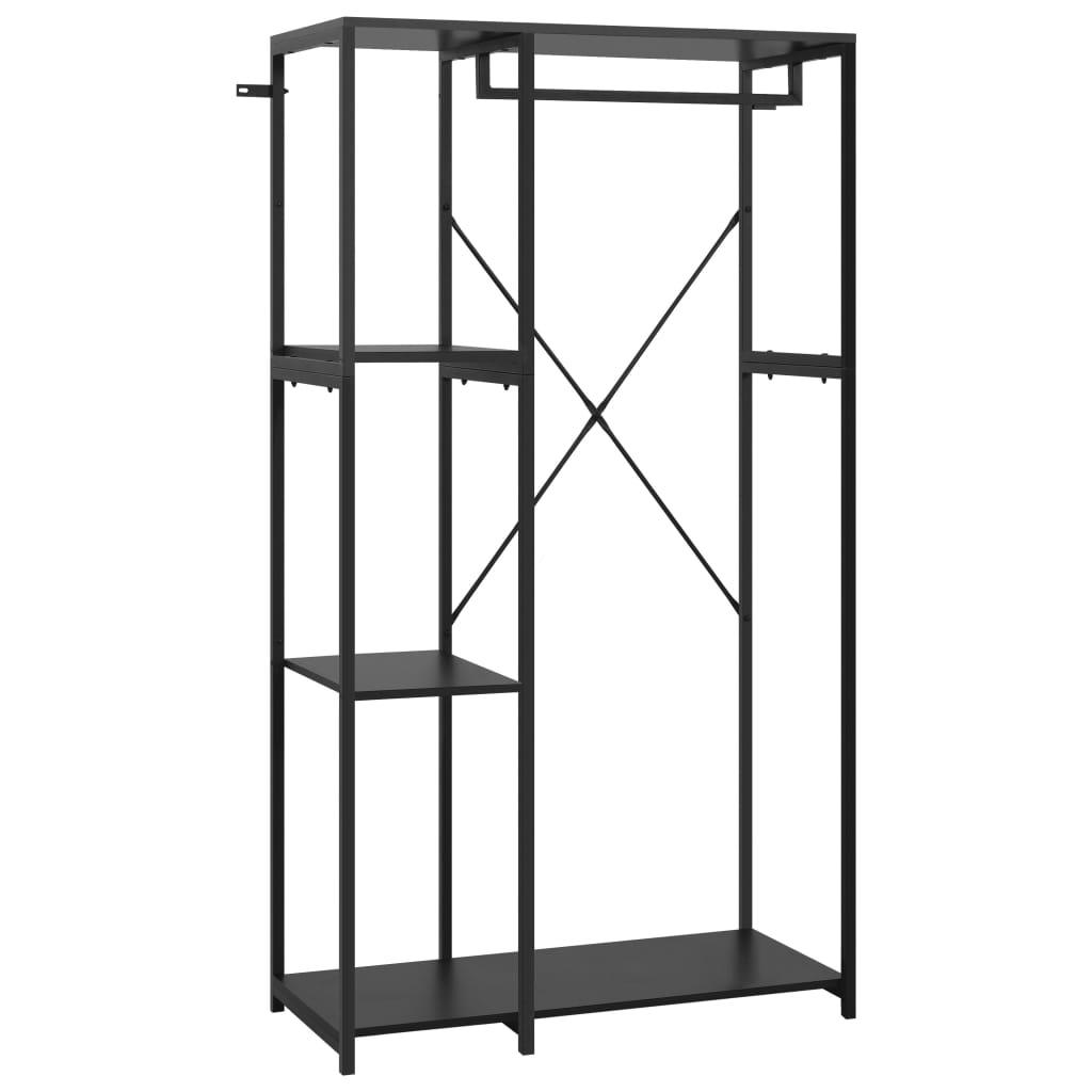 Šatní skříň černá 90 x 40 x 167 cm kov a dřevotříska