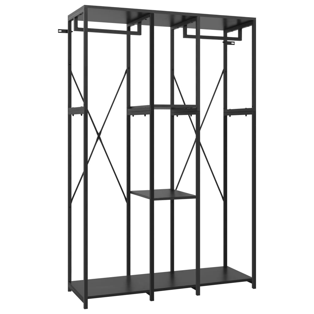 Garderob svart 110x40x167 cm metall och spånskiva