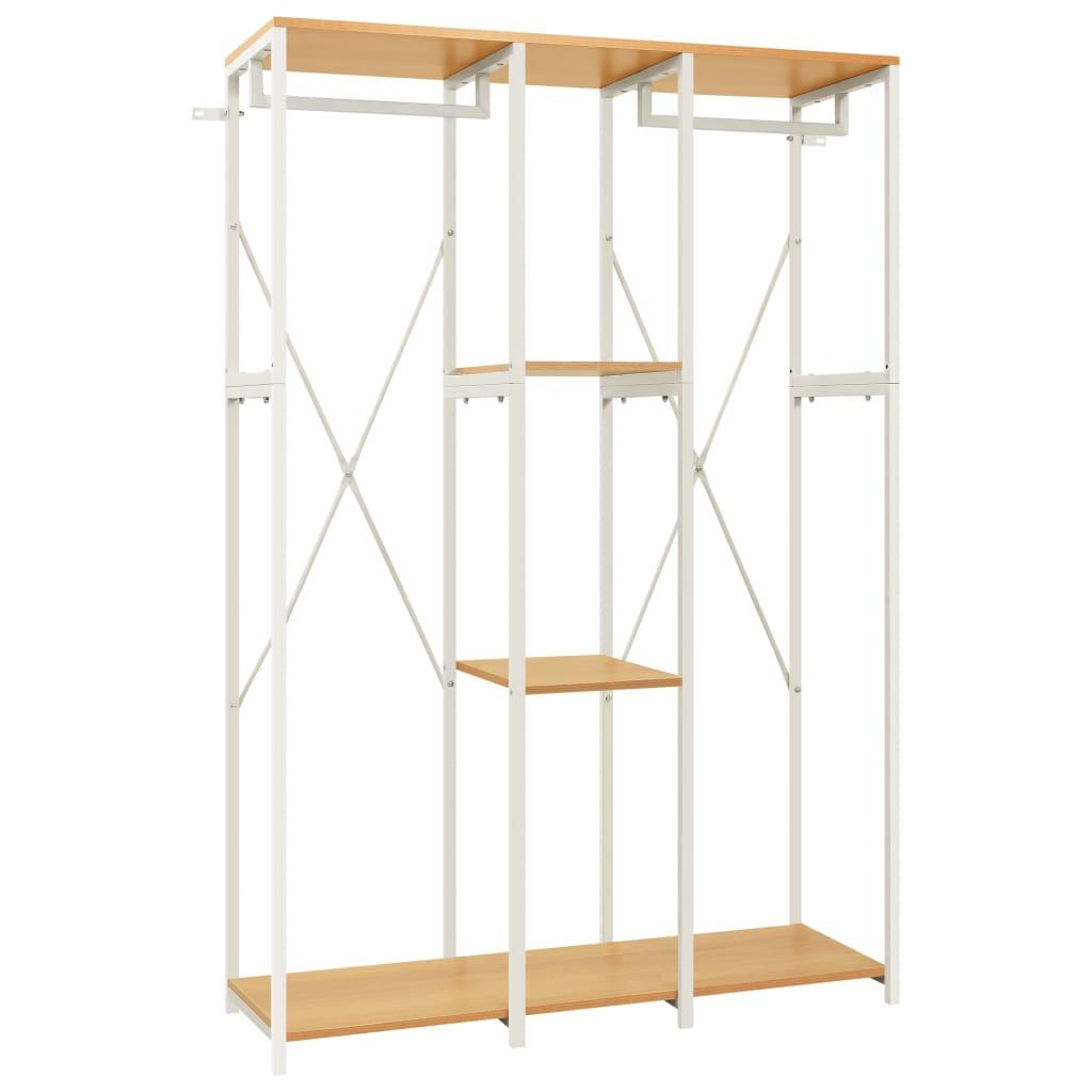 Šatní skříň bílá a dub 110 x 40 x 167 cm kov a dřevotříska
