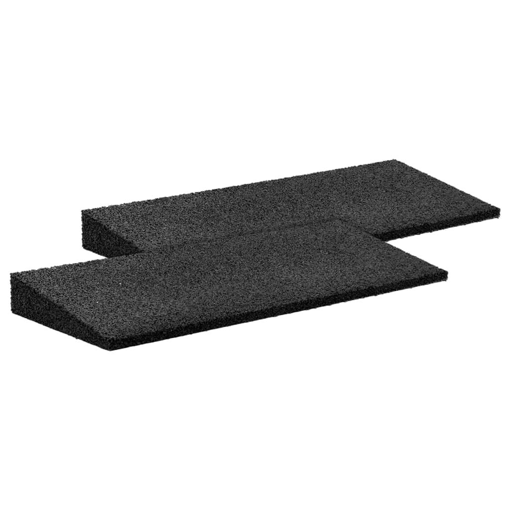 vidaXL Nájezdová rampa gumová 2 ks černá 50 x 20 x 1–4,3 cm
