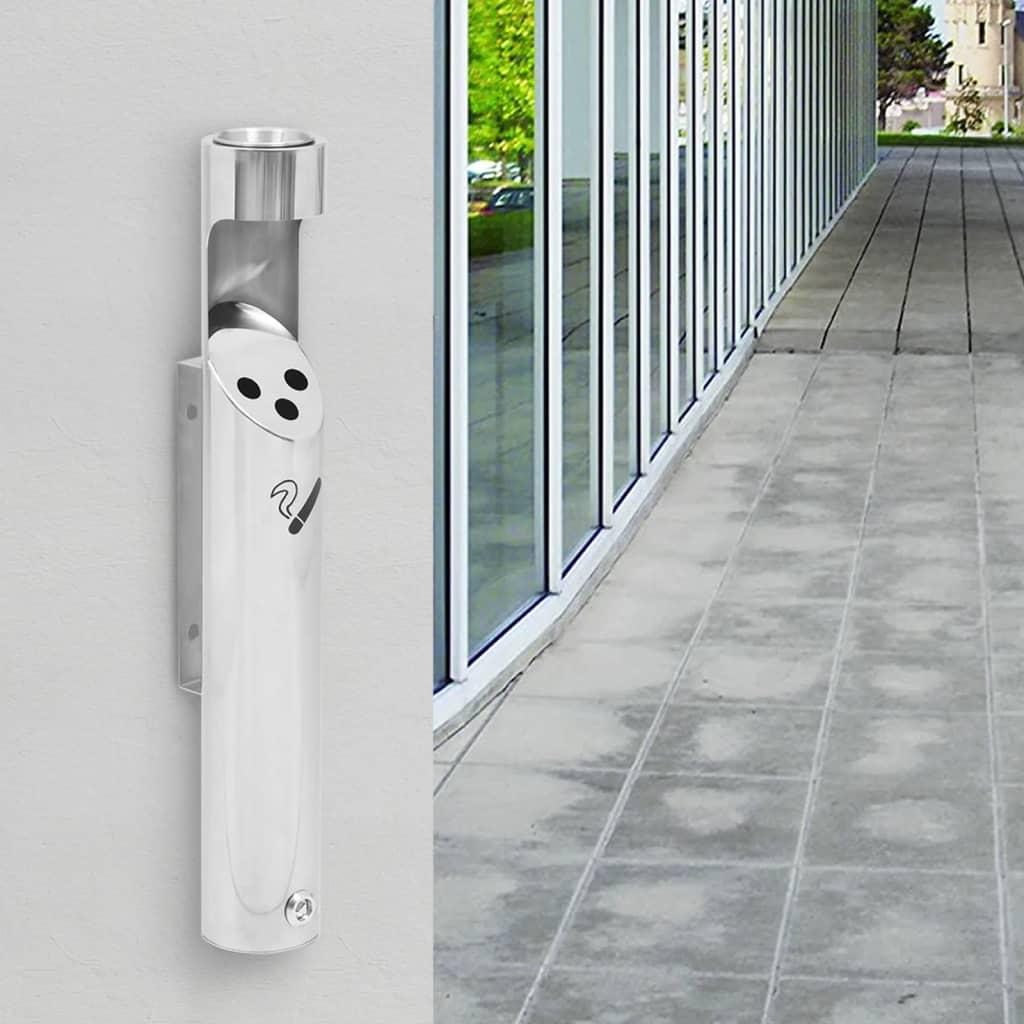 vidaXL Zidna pepeljara od nehrđajućeg čelika