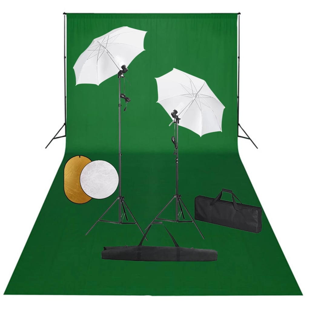 Fotografska oprema: svjetla, kišobrani, pozadina i reflektor
