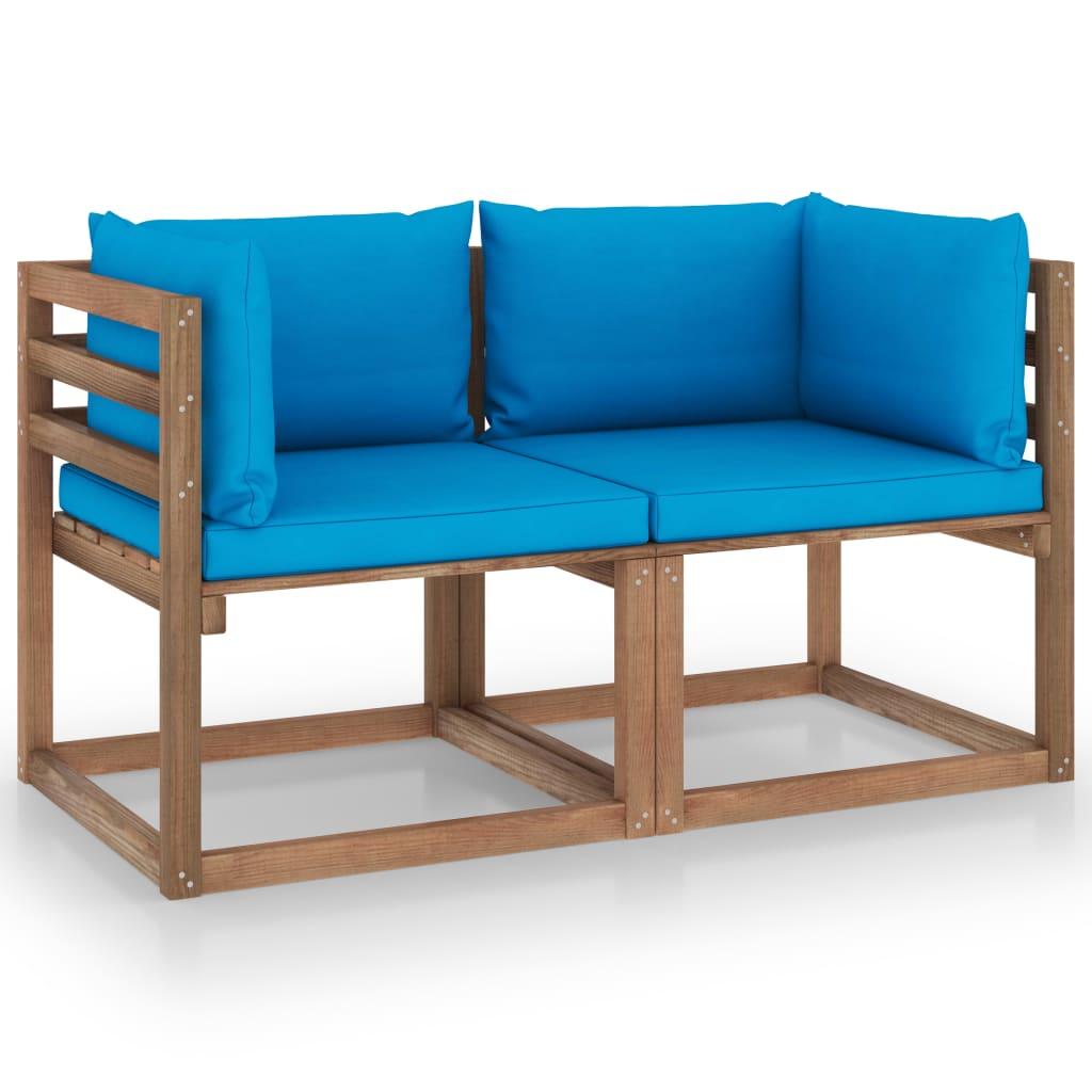 vidaXL Tuinbank 2-zits pallet met lichtblauwe kussens grenenhout