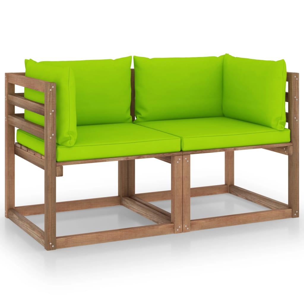 vidaXL Garten-Palettensofa 2-Sitzer mit Kissen Hellgrün Kiefernholz