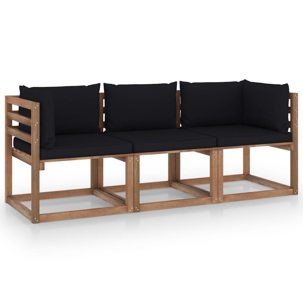 vidaXL Garten-Palettensofa 3-Sitzer mit Kissen Schwarz Kiefernholz