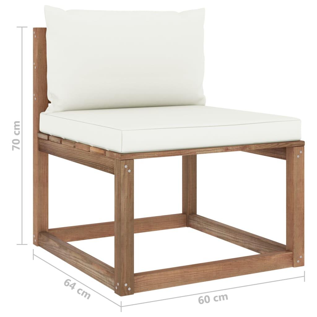 vidaXL 3-delige Loungeset pallet met kussens geïmpregneerd grenenhout