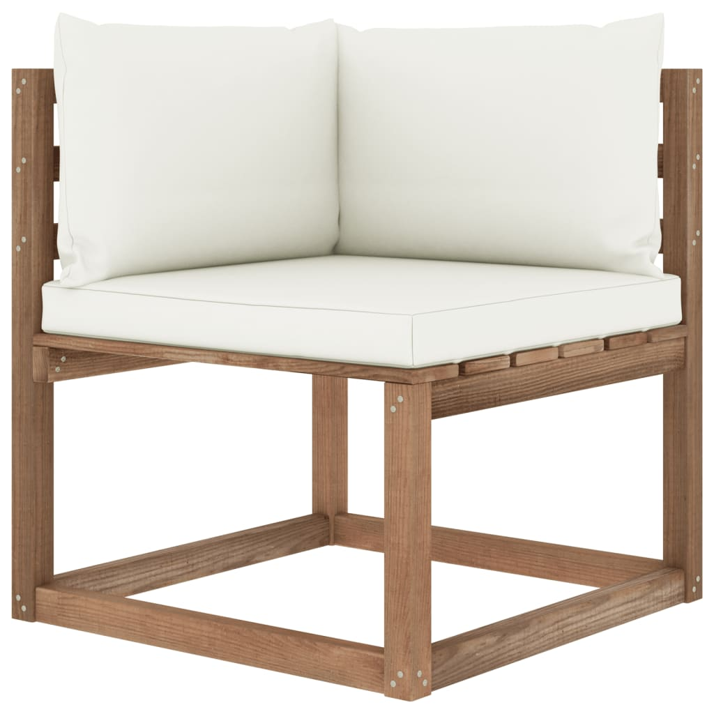 4-delige Loungeset pallet met kussens geïmpregneerd grenenhout