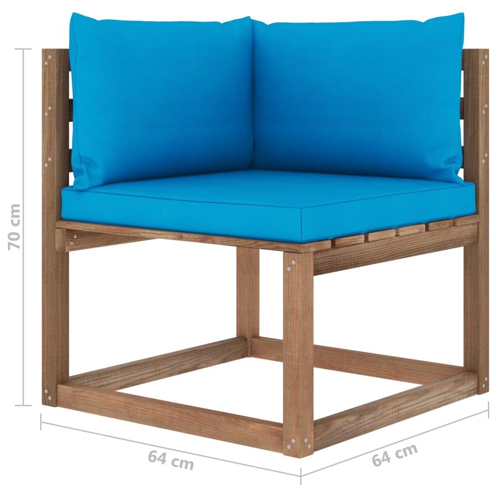 vidaXL Tuinbank 4-zits pallet met kussens geïmpregneerd grenenhout