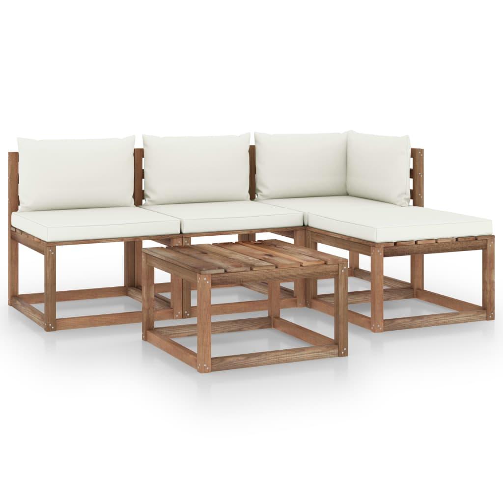 5-delige Loungeset pallet met kussens geïmpregneerd grenenhout