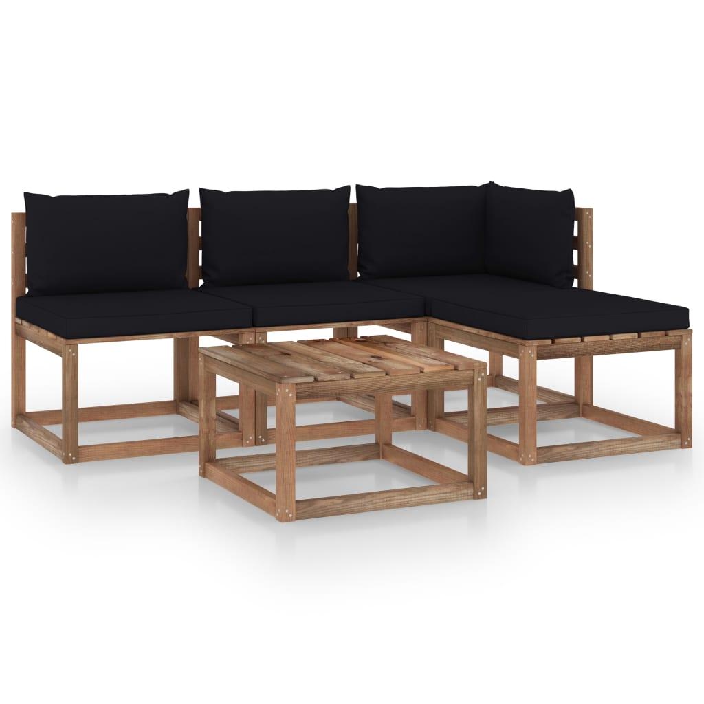 vidaXL 5-tlg. Garten-Sofagarnitur aus Paletten mit Kissen Kiefernholz
