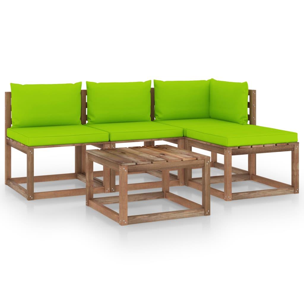 vidaXL 5-delige Loungeset pallet met kussens geïmpregneerd grenenhout