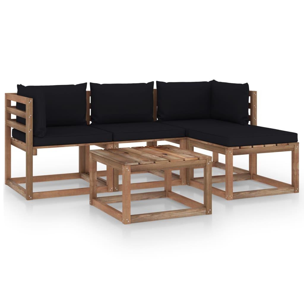 vidaXL 5-tlg. Garten-Lounge-Set mit Schwarzen Kissen